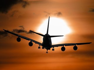 aeroplane in sunset