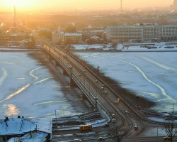 Daugava River frozen around bridge in winter Riga, Latvia