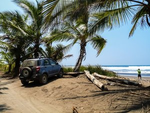 car on costa rica beach